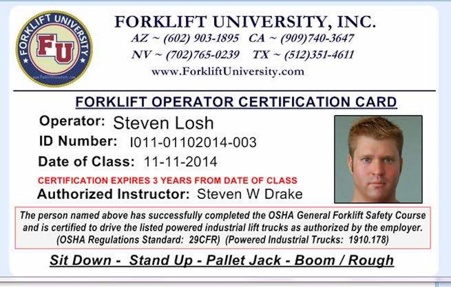 forklift license card
